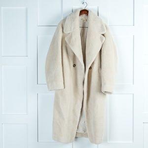 H&M White Fluffy Pea Coat
